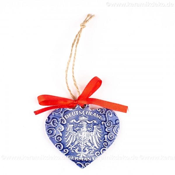 Bundesadler - Wappen - Herzform, blau, handgefertigte Keramik, Weihnachtsbaum-Hänger