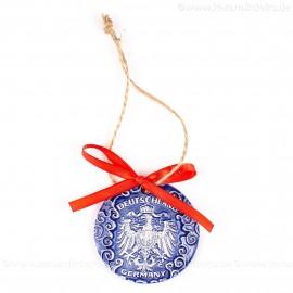 Bundesadler - Wappen - runde form, blau, handgefertigte Keramik, Weihnachtsbaumschmuck