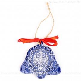 Bundesadler - Wappen - Glockenform, blau, handgefertigte Keramik, Baumschmuck zu Weihnachten