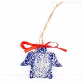 Bundesadler - Wappen - Engelform, blau, handgefertigte Keramik, Weihnachtsbaum-Hänger