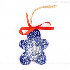 Bundesadler - Wappen - Keksform, blau, handgefertigte Keramik, Christbaumschmuck