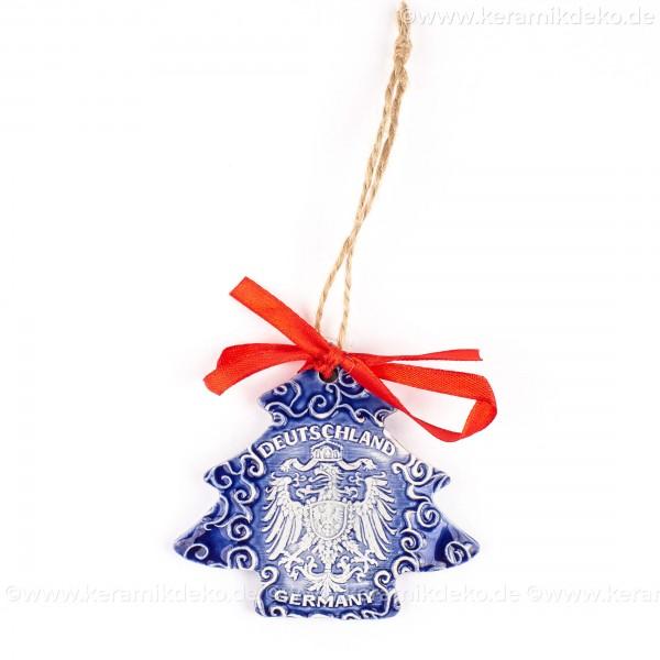 Bundesadler - Wappen - Weihnachtsbaum-form, blau, handgefertigte Keramik, Weihnachtsbaumschmuck