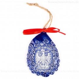 Bundesadler - Wappen - Weihnachtsmann-form, blau, handgefertigte Keramik, Baumschmuck zu Weihnachten
