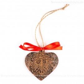 Bundesadler - Wappen - Herzform, braun, handgefertigte Keramik, Weihnachtsbaum-Hänger