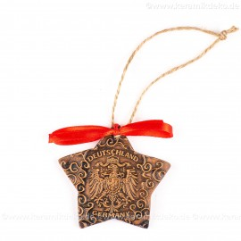 Bundesadler - Wappen - Sternform, braun, handgefertigte Keramik, Christbaumschmuck