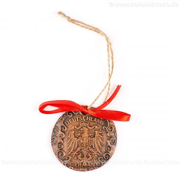 Bundesadler - Wappen - runde form, braun, handgefertigte Keramik, Weihnachtsbaumschmuck