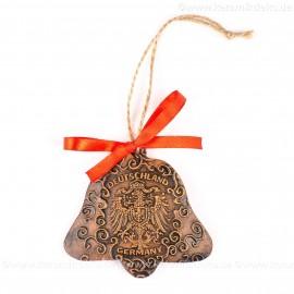 Bundesadler - Wappen - Glockenform, braun, handgefertigte Keramik, Baumschmuck zu Weihnachten