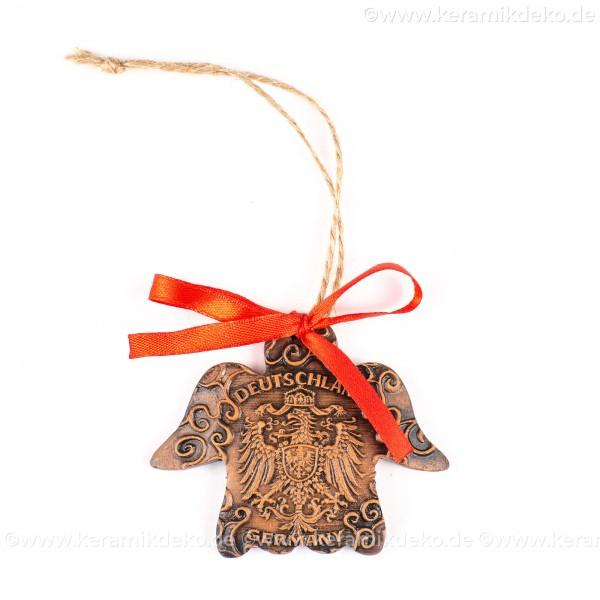 Bundesadler - Wappen - Engelform, braun, handgefertigte Keramik, Weihnachtsbaum-Hänger