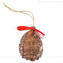 Bundesadler - Wappen - Weihnachtsmann-form, braun, handgefertigte Keramik, Baumschmuck zu Weihnachten
