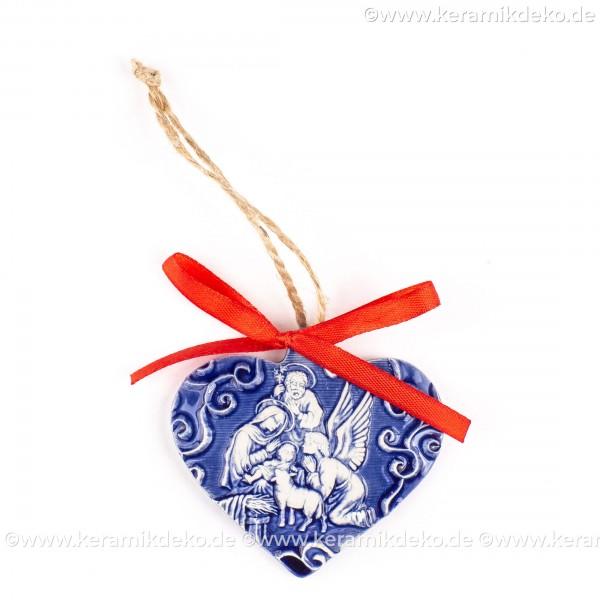Heilige Familie - Herzform, blau, handgefertigte Keramik, Weihnachtsbaum-Hänger