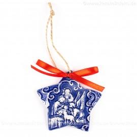 Heilige Familie - Sternform, blau, handgefertigte Keramik, Christbaumschmuck