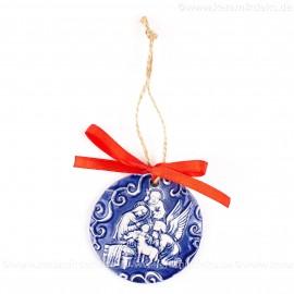Heilige Familie - runde form, blau, handgefertigte Keramik, Weihnachtsbaumschmuck