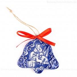 Heilige Familie - Glockenform, blau, handgefertigte Keramik, Baumschmuck zu Weihnachten