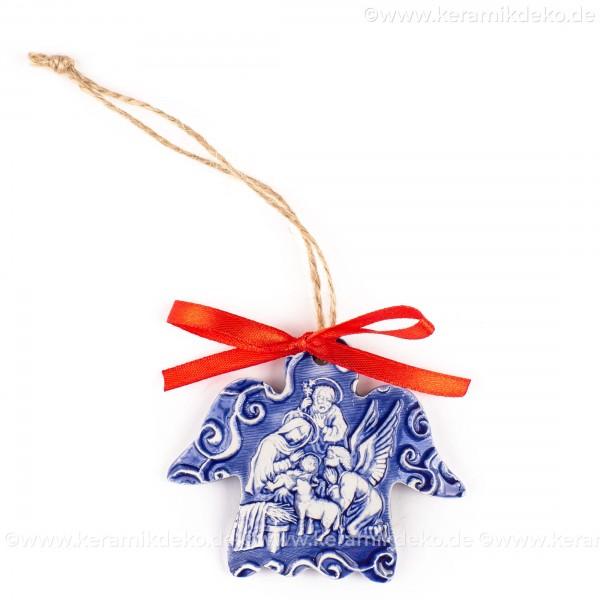 Heilige Familie - Engelform, blau, handgefertigte Keramik, Weihnachtsbaum-Hänger