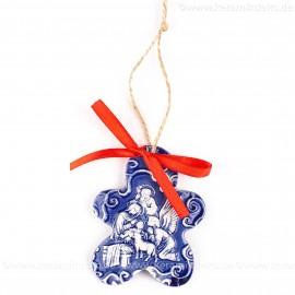 Heilige Familie - Keksform, blau, handgefertigte Keramik, Christbaumschmuck