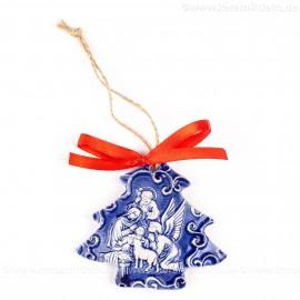 Heilige Familie - Weihnachtsbaum-form, blau, handgefertigte Keramik, Weihnachtsbaumschmuck