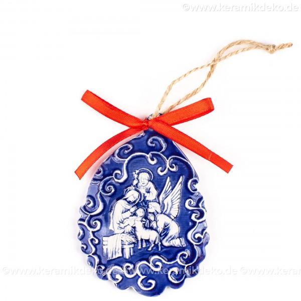 Heilige Familie - Weihnachtsmann-form, blau, handgefertigte Keramik, Baumschmuck zu Weihnachten