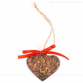 Heilige Familie - Herzform, braun, handgefertigte Keramik, Weihnachtsbaum-Hänger