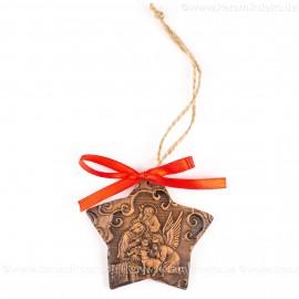 Heilige Familie - Sternform, braun, handgefertigte Keramik, Christbaumschmuck