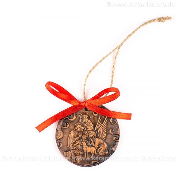 Heilige Familie - runde form, braun, handgefertigte Keramik, Weihnachtsbaumschmuck