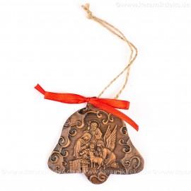 Heilige Familie - Glockenform, braun, handgefertigte Keramik, Baumschmuck zu Weihnachten