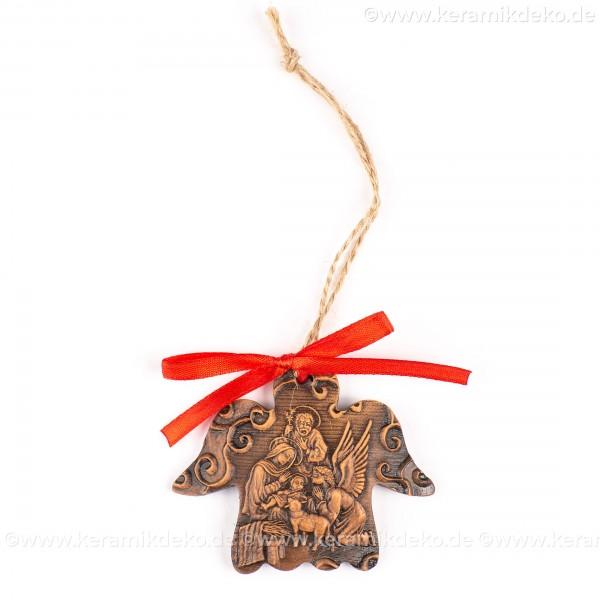 Heilige Familie - Engelform, braun, handgefertigte Keramik, Weihnachtsbaum-Hänger