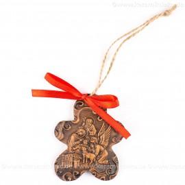Heilige Familie - Keksform, braun, handgefertigte Keramik, Christbaumschmuck