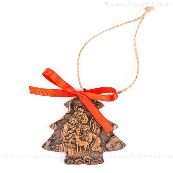 Heilige Familie - Weihnachtsbaum-form, braun, handgefertigte Keramik, Weihnachtsbaumschmuck