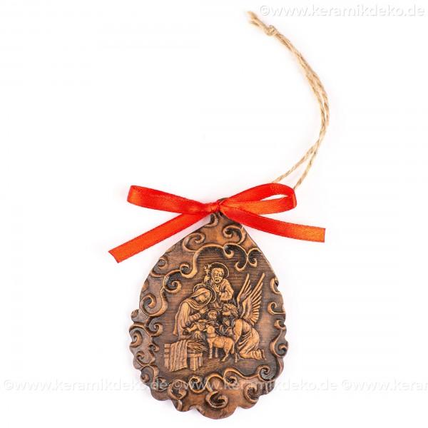 Heilige Familie - Weihnachtsmann-form, braun, handgefertigte Keramik, Baumschmuck zu Weihnachten