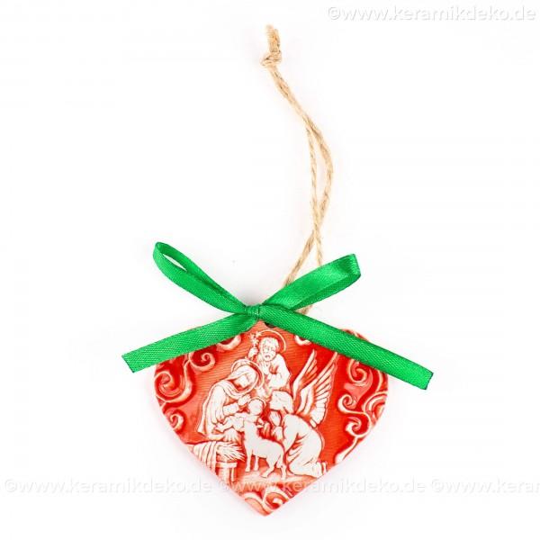 Heilige Familie - Herzform, rot, handgefertigte Keramik, Weihnachtsbaum-Hänger
