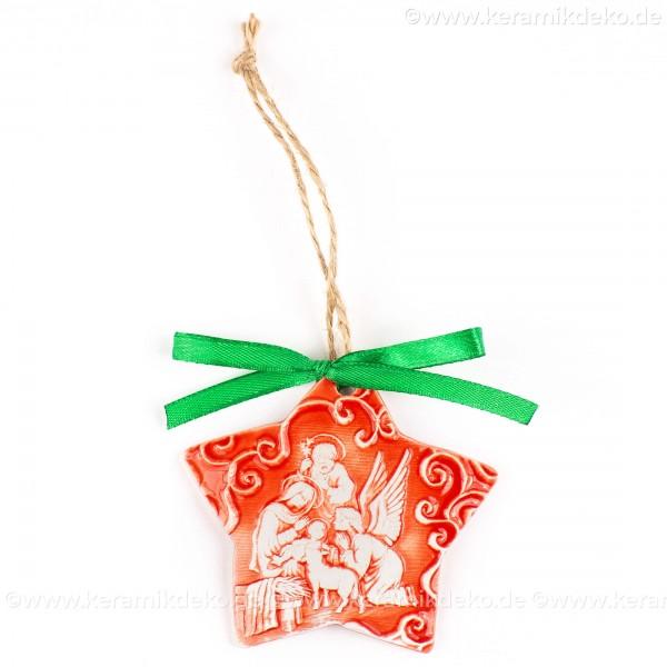 Heilige Familie - Sternform, rot, handgefertigte Keramik, Christbaumschmuck