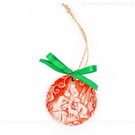 Heilige Familie - runde form, rot, handgefertigte Keramik, Weihnachtsbaumschmuck