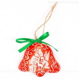 Heilige Familie - Glockenform, rot, handgefertigte Keramik, Baumschmuck zu Weihnachten