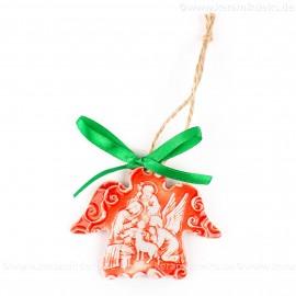 Heilige Familie - Engelform, rot, handgefertigte Keramik, Weihnachtsbaum-Hänger
