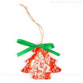 Heilige Familie - Weihnachtsbaum-form, rot, handgefertigte Keramik, Weihnachtsbaumschmuck