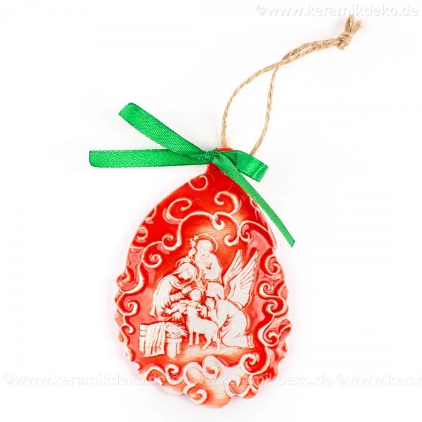 Heilige Familie - Weihnachtsmann-form, rot, handgefertigte Keramik, Baumschmuck zu Weihnachten