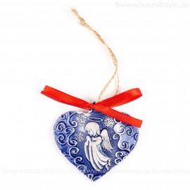 Weihnachtsengel - Herzform, blau, handgefertigte Keramik, Weihnachtsbaum-Hänger