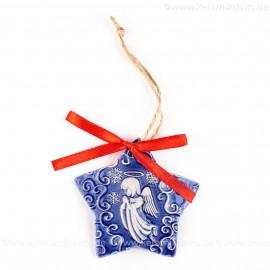 Weihnachtsengel - Sternform, blau, handgefertigte Keramik, Christbaumschmuck