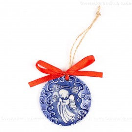 Weihnachtsengel - runde form, blau, handgefertigte Keramik, Weihnachtsbaumschmuck