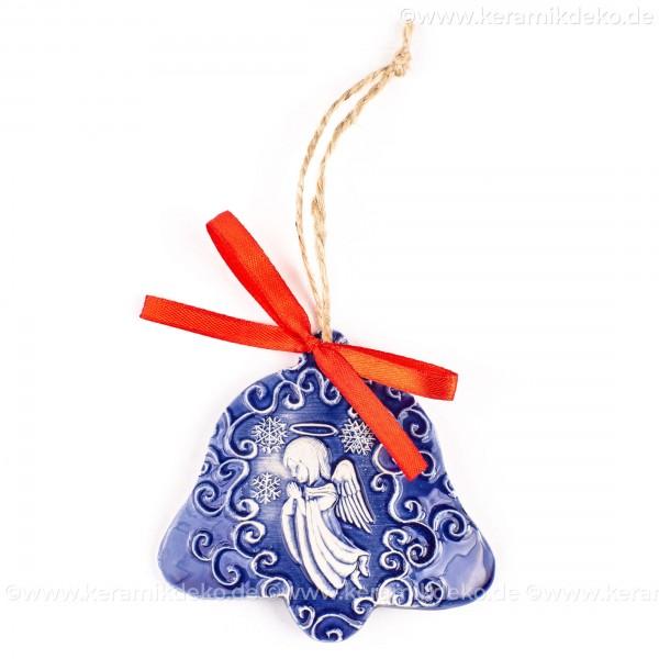 Weihnachtsengel - Glockenform, blau, handgefertigte Keramik, Baumschmuck zu Weihnachten