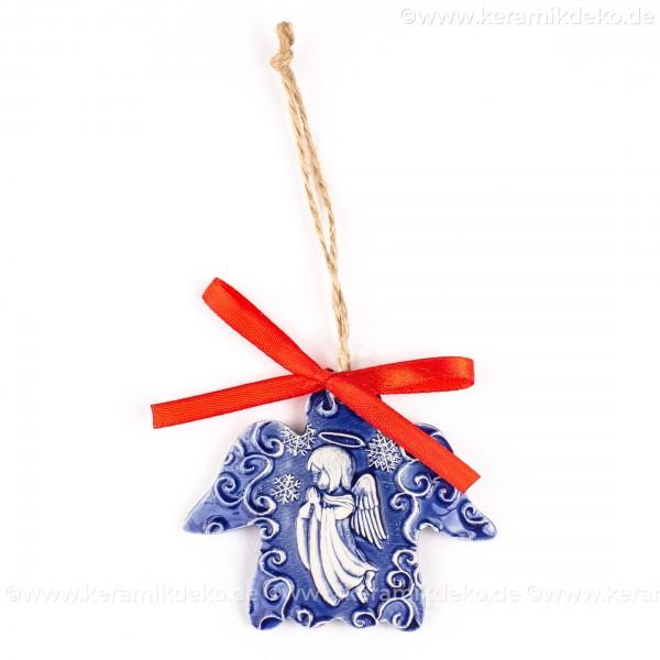 Weihnachtsengel - Engelform, blau, handgefertigte Keramik, Weihnachtsbaum-Hänger