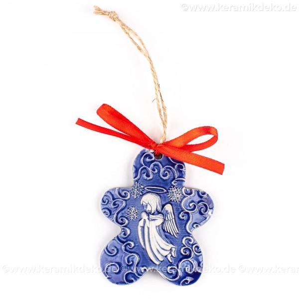 Weihnachtsengel - Keksform, blau, handgefertigte Keramik, Christbaumschmuck