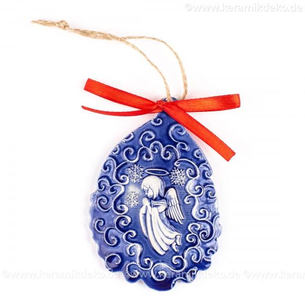 Weihnachtsengel - Weihnachtsmann-form, blau, handgefertigte Keramik, Baumschmuck zu Weihnachten