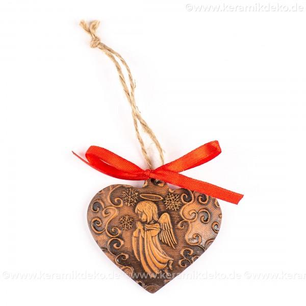 Weihnachtsengel - Herzform, braun, handgefertigte Keramik, Weihnachtsbaum-Hänger