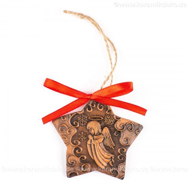 Weihnachtsengel - Sternform, braun, handgefertigte Keramik, Christbaumschmuck