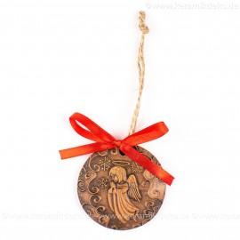 Weihnachtsengel - runde form, braun, handgefertigte Keramik, Weihnachtsbaumschmuck