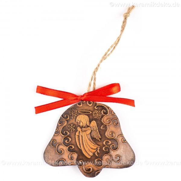 Weihnachtsengel - Glockenform, braun, handgefertigte Keramik, Baumschmuck zu Weihnachten