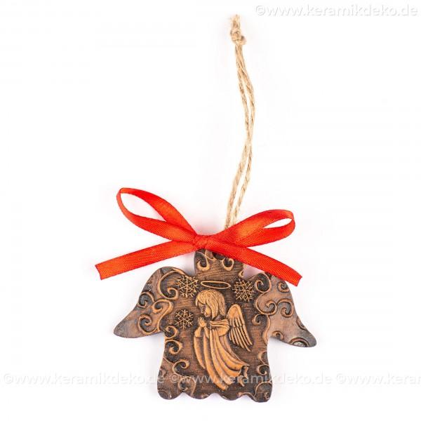 Weihnachtsengel - Engelform, braun, handgefertigte Keramik, Weihnachtsbaum-Hänger