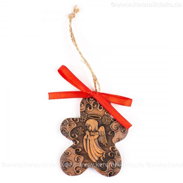 Weihnachtsengel - Keksform, braun, handgefertigte Keramik, Christbaumschmuck