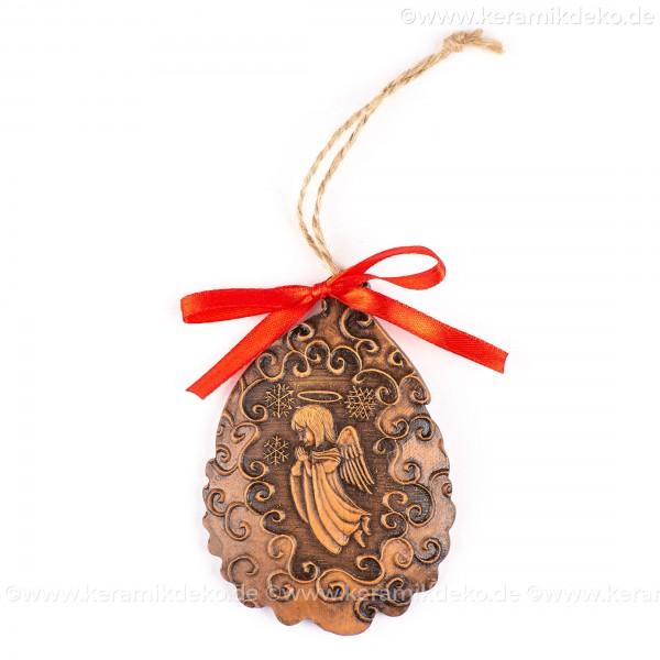 Weihnachtsengel - Weihnachtsmann-form, braun, handgefertigte Keramik, Baumschmuck zu Weihnachten